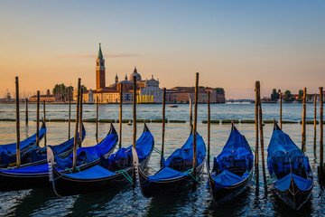 View of gondolas at dawn, Venice, Italy