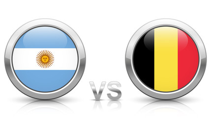 Argentina vs. Belgium - icons buttons with national flags
