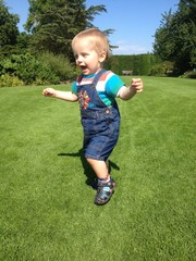 happy toddler running
