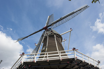 Wooden wind mill taken upwards