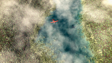 Aerial of red airplane flying over spring meadow with river. Som