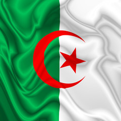 Algeria Waving Silk Flag