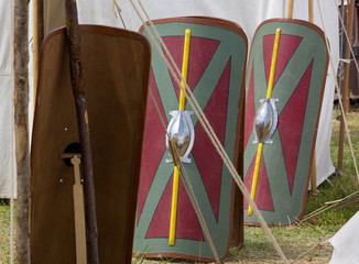 Legionary Shields in a Roman Encampment