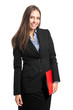 Friendly businesswoman portrait holding a clipboard