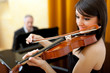 Female violinist and male pianist