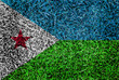 Djibouti Flag color grass texture background