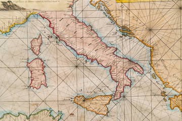 Old map of Italy, Sicily, Corsica, Croatia and Sardinia