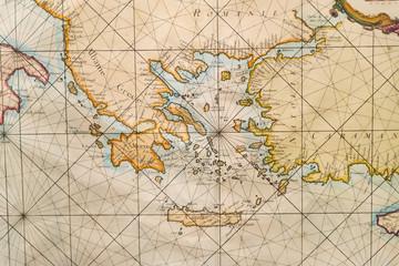Old map of Greece, western Turkey, Albany, Crete