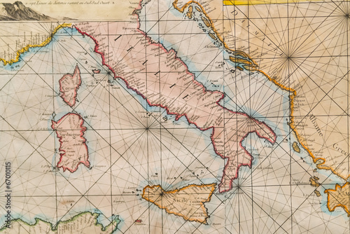 Canvas Retro Old map of Italy, Sicily, Corsica, Croatia and Sardinia