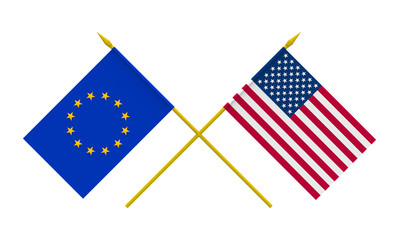 Flags, USA and European Union