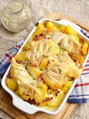 French traditional potato gratin tartiflette