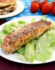 Baked salmon with mustard sauce
