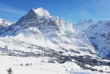 Grindelwald, zimowe krajobrazy, Alpy Szwajcarskie