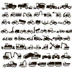 50 vector icons tractors