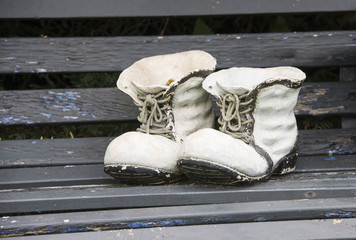 decoration of high shoes on bench