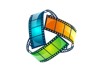 film-movie-color-in-circle-abstract-vector-logo