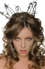 Beautiful woman wearing crown of barbed wire