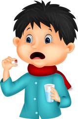 Sicked boy swallows pill