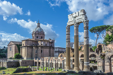 Ancient Roman forums in Rome, Italy