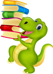 Cute dinosaur with book