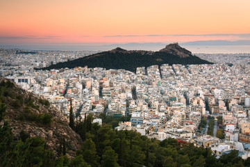 View of the Lycabettus hill in Athens.