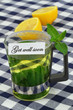 Get well soon card with mint tea and fresh lemon