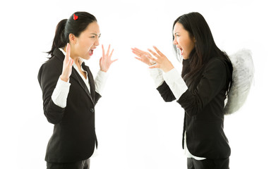 Devil and angel sides of a young Asian businesswoman strangling