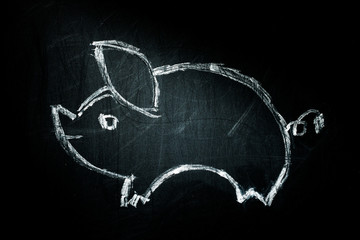 pig on a blackboard