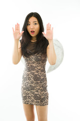 Asian young woman dressed up as an angel with making stop