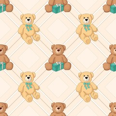 Teddy bear color seamless background. Vector