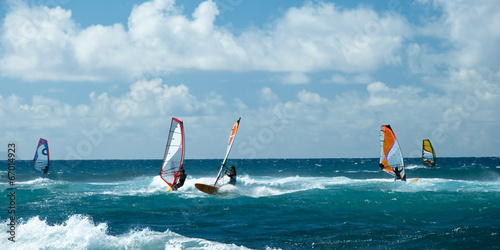 Windsurfers in windy weather on Maui Island panorama