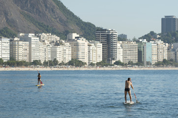 Stand Up Paddle Surfers Copacabana Rio Brazil