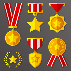Flat medals and awards set with stars icon