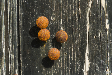 Rusty drawing pins or thumb tacks against a distressed wood back