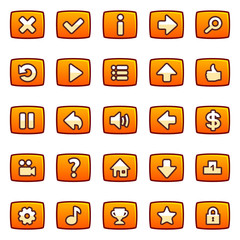Orange buttons for game interface