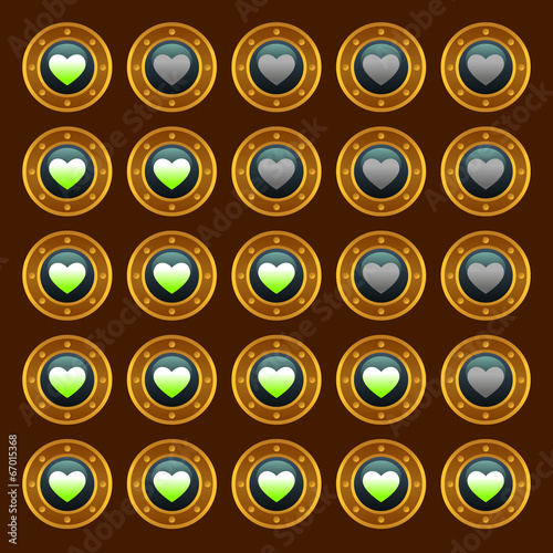 Steam punk game web rating hearts set