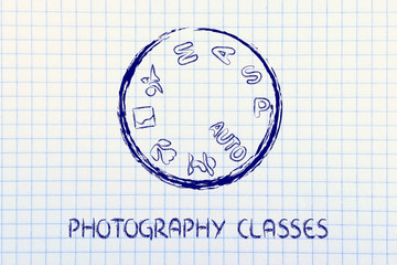 photography school, camera dial design