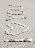 I love you message composed from beach pebbles