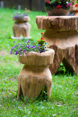 Typical wood rustic garden flower support