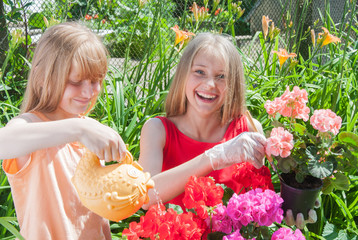 Young girls gardening