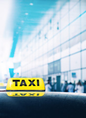 Taxi car near airport gate