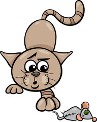 cat with toy mouse cartoon illustration