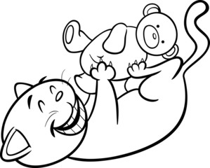 playing cat cartoon coloring page