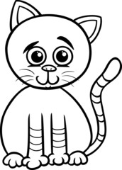 cute cat cartoon coloring page