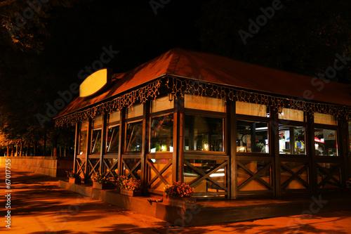 Poster Night cafe in walking street