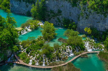 Cascade at Plitvice Lakes National park in Spring