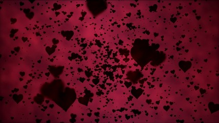 Black Hearts Particle Background - Loop