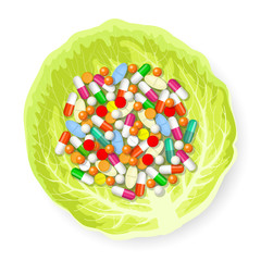 Pills on cabbage leaf