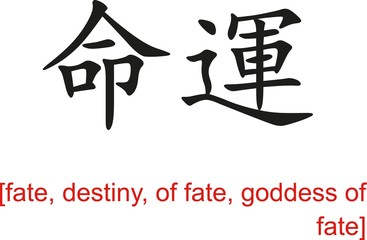 Chinese Sign for fate, destiny, of fate, goddess of fate