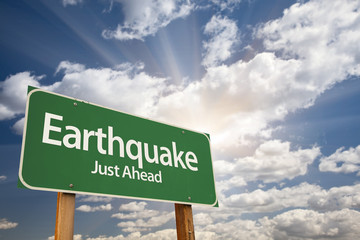 Earthquake Green Road Sign